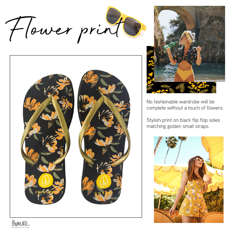 Flower Print - Customized Flip Flops - Gold Black Yellow