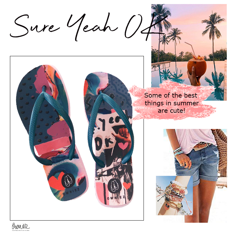 Customized Flip Flops - Sure Yeah OK - Bubblegum Petrol