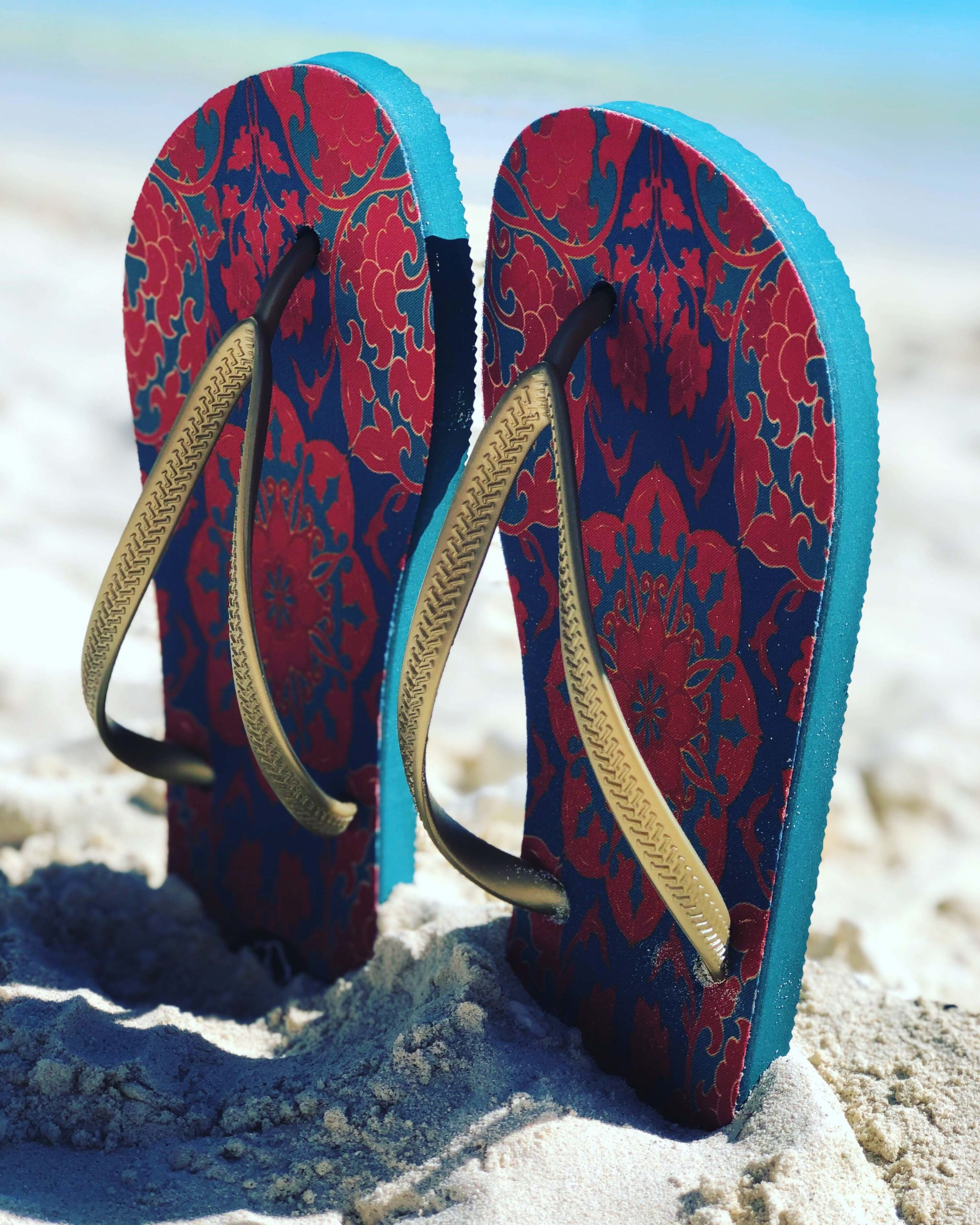 Customized Flip Flops - Petrol Gold - Owniez